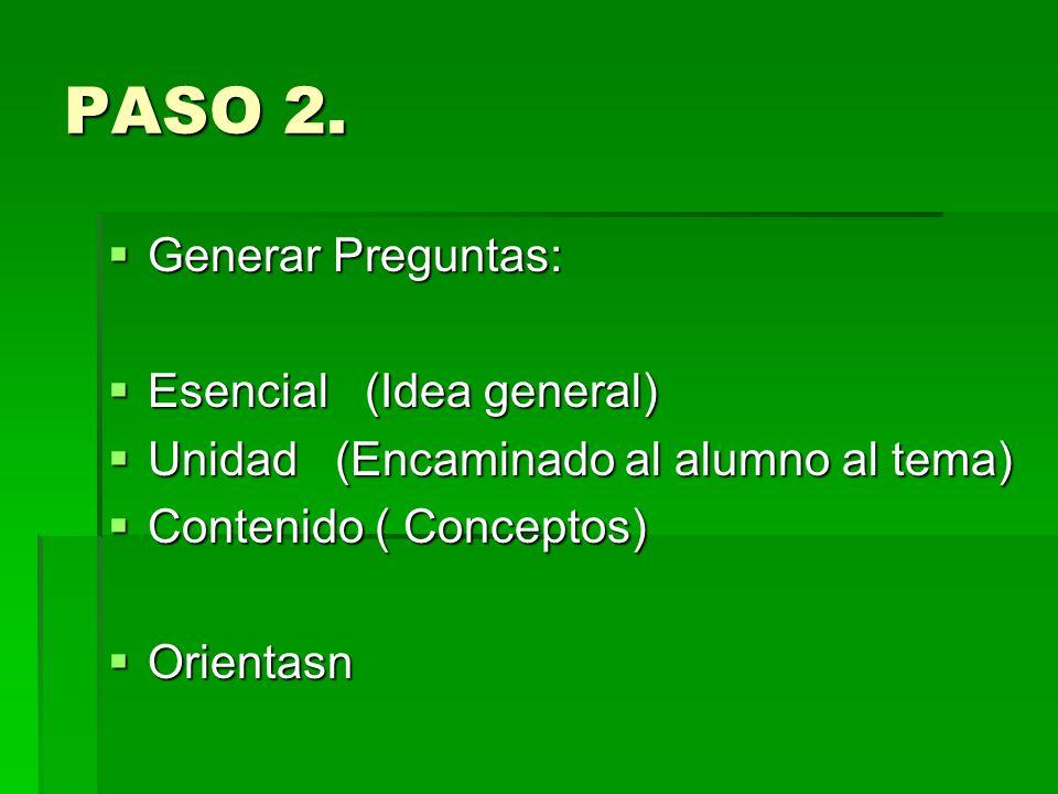 PASO 2. Generar Preguntas: Generar Preguntas: Esencial (Idea general) Esencial (Idea general) Unidad (Encaminado al alumno al tema) Unidad (Encaminado