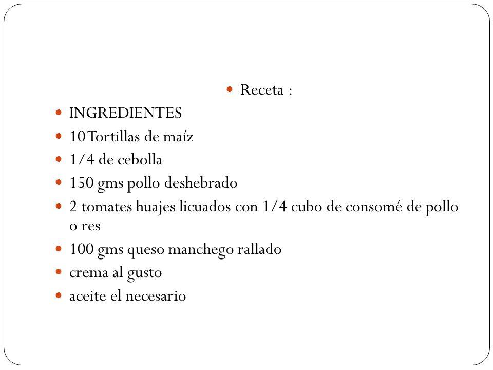 Receta : INGREDIENTES 10 Tortillas de maíz 1/4 de cebolla 150 gms pollo deshebrado 2 tomates huajes licuados con 1/4 cubo de consomé de pollo o res 10
