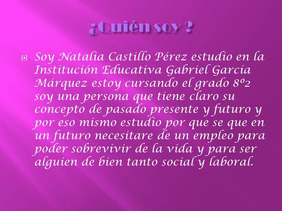 Soy Natalia Castillo Pérez estudio en la Institución Educativa Gabriel García Márquez estoy cursando el grado 8º2 soy una persona que tiene claro su concepto de pasado presente y futuro y por eso mismo estudio por que se que en un futuro necesitare de un empleo para poder sobrevivir de la vida y para ser alguien de bien tanto social y laboral.