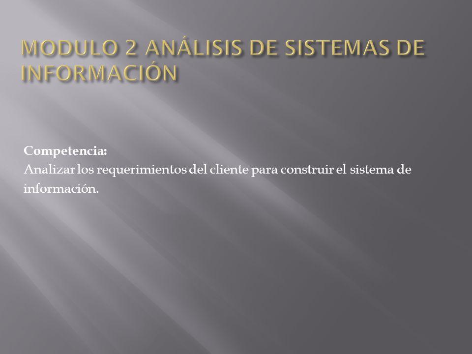 Competencia: Analizar los requerimientos del cliente para construir el sistema de información.