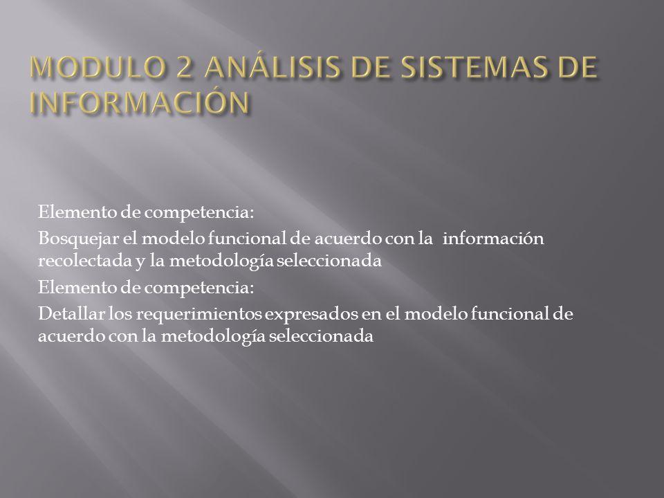 Elemento de competencia: Bosquejar el modelo funcional de acuerdo con la información recolectada y la metodología seleccionada Elemento de competencia