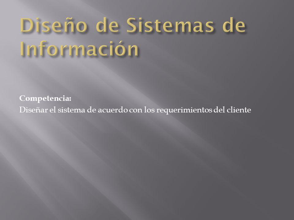 Competencia: Diseñar el sistema de acuerdo con los requerimientos del cliente