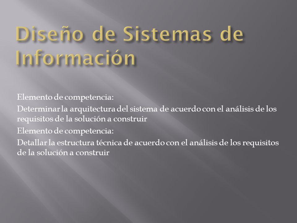 Elemento de competencia: Determinar la arquitectura del sistema de acuerdo con el análisis de los requisitos de la solución a construir Elemento de co