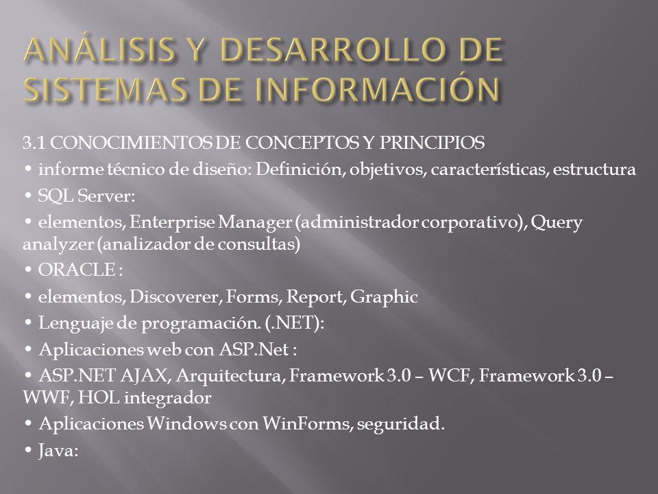 3.1 CONOCIMIENTOS DE CONCEPTOS Y PRINCIPIOS informe técnico de diseño: Definición, objetivos, características, estructura SQL Server: elementos, Enter