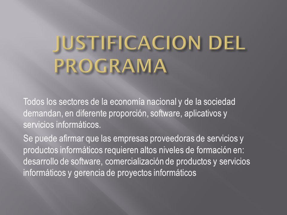 Todos los sectores de la economía nacional y de la sociedad demandan, en diferente proporción, software, aplicativos y servicios informáticos. Se pued