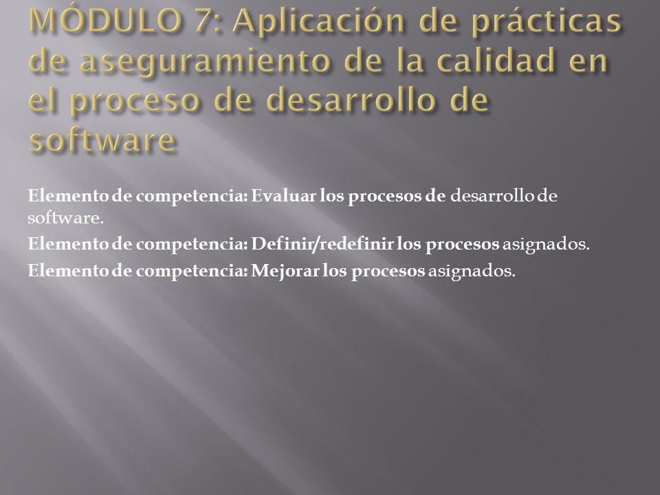Elemento de competencia: Evaluar los procesos de desarrollo de software. Elemento de competencia: Definir/redefinir los procesos asignados. Elemento d