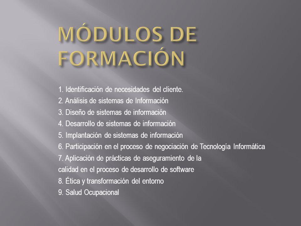 1. Identificación de necesidades del cliente. 2. Análisis de sistemas de Información 3. Diseño de sistemas de información 4. Desarrollo de sistemas de