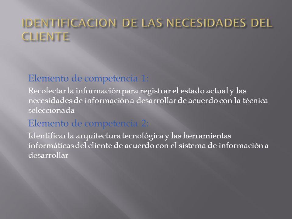 Elemento de competencia 1: Recolectar la información para registrar el estado actual y las necesidades de información a desarrollar de acuerdo con la