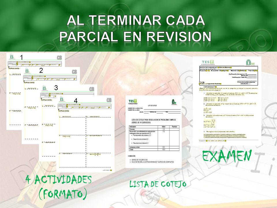 LISTA DE COTEJO 4 ACTIVIDADES (FORMATO) EXAMEN 1 2 3 4