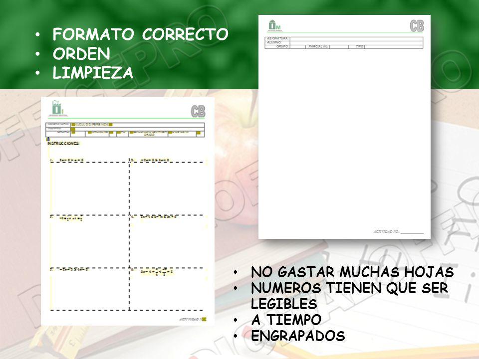 FORMATO CORRECTO ORDEN LIMPIEZA NO GASTAR MUCHAS HOJAS NUMEROS TIENEN QUE SER LEGIBLES A TIEMPO ENGRAPADOS