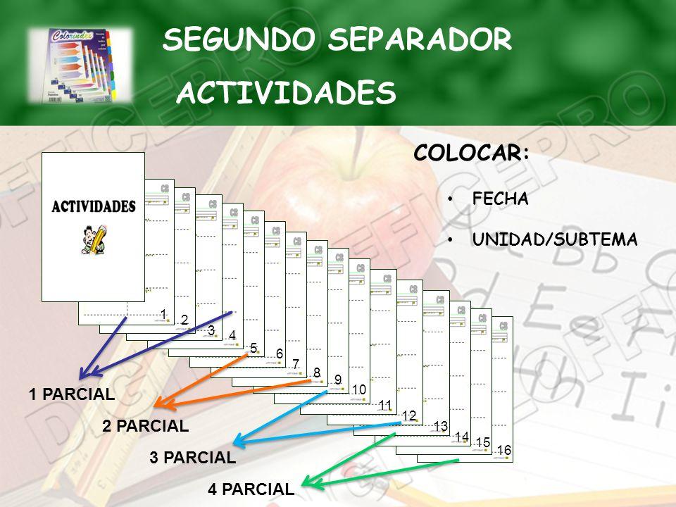 COLOCAR: FECHA UNIDAD/SUBTEMA 1 2 3 4 5 6 7 8 10 9 11 12 13 14 15 16 1 PARCIAL 2 PARCIAL 3 PARCIAL 4 PARCIAL SEGUNDO SEPARADOR ACTIVIDADES