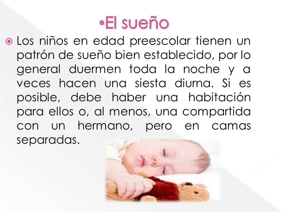 Los niños en edad preescolar tienen un patrón de sueño bien establecido, por lo general duermen toda la noche y a veces hacen una siesta diurna.