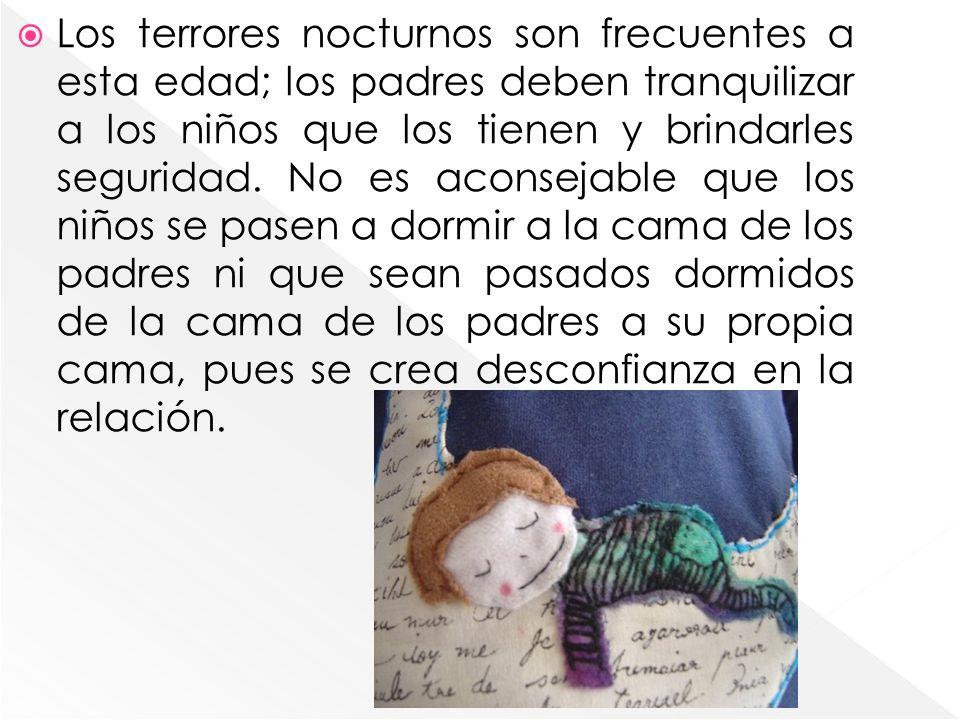 Los terrores nocturnos son frecuentes a esta edad; los padres deben tranquilizar a los niños que los tienen y brindarles seguridad. No es aconsejable