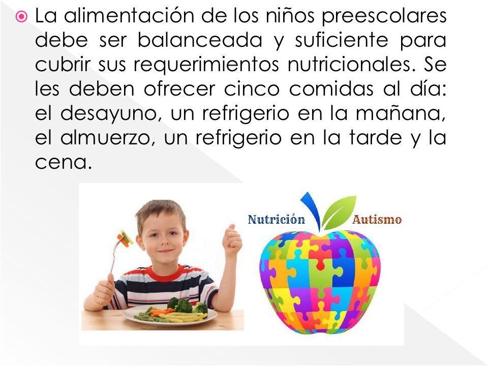 La alimentación de los niños preescolares debe ser balanceada y suficiente para cubrir sus requerimientos nutricionales. Se les deben ofrecer cinco co