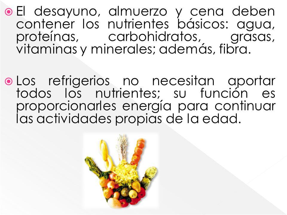 Los refrigerios no necesitan aportar todos los nutrientes; su función es proporcionarles energía para continuar las actividades propias de la edad.