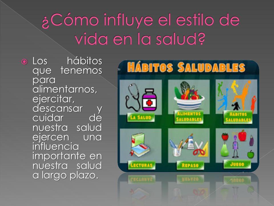 Los hábitos que tenemos para alimentarnos, ejercitar, descansar y cuidar de nuestra salud ejercen una influencia importante en nuestra salud a largo p