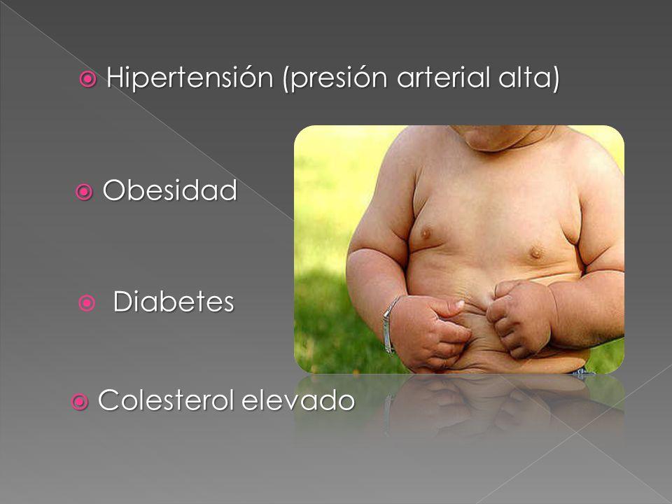 Obesidad Obesidad Diabetes Hipertensión (presión arterial alta) Hipertensión (presión arterial alta) Colesterol elevado Colesterol elevado