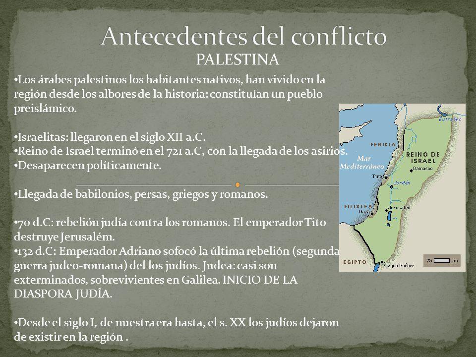 PALESTINA Los árabes palestinos los habitantes nativos, han vivido en la región desde los albores de la historia: constituían un pueblo preislámico.