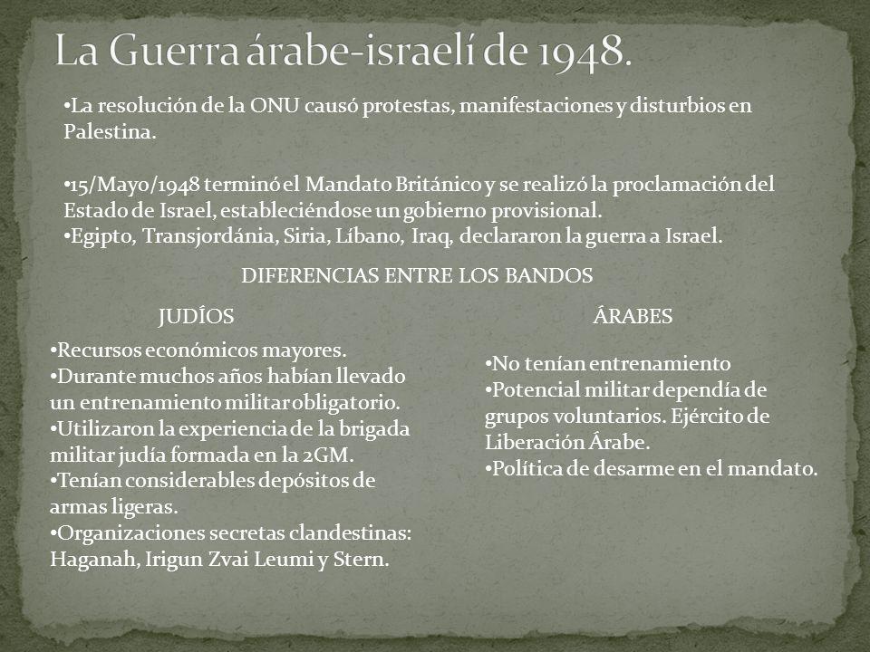 La resolución de la ONU causó protestas, manifestaciones y disturbios en Palestina.