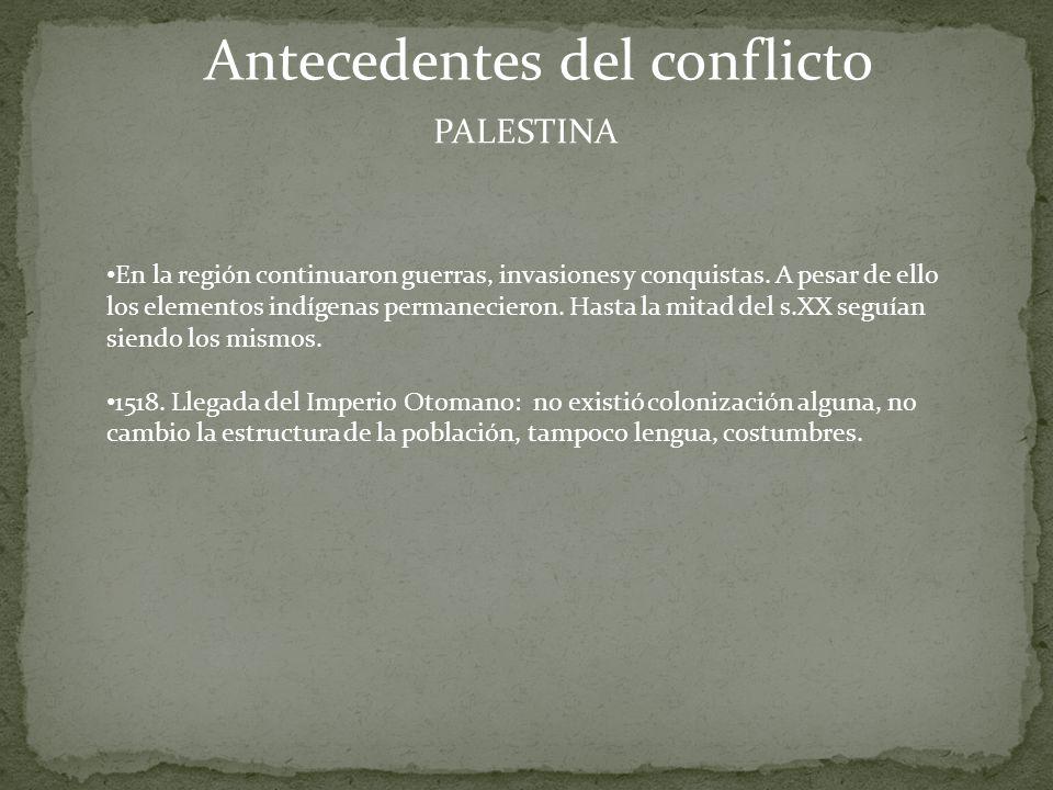 Antecedentes del conflicto PALESTINA En la región continuaron guerras, invasiones y conquistas.