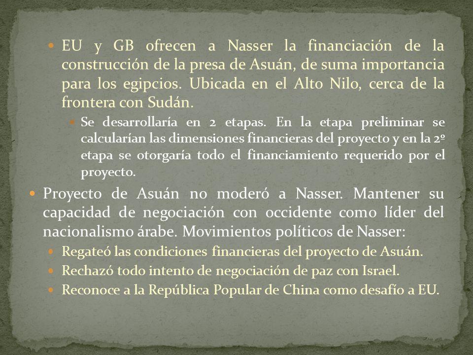 EU y GB ofrecen a Nasser la financiación de la construcción de la presa de Asuán, de suma importancia para los egipcios.