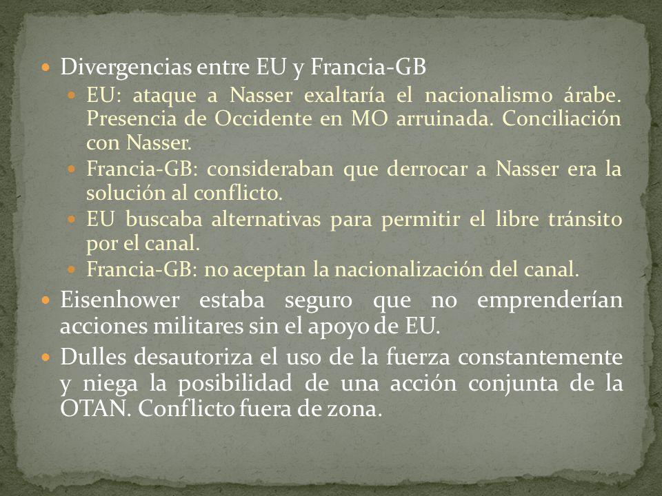 Divergencias entre EU y Francia-GB EU: ataque a Nasser exaltaría el nacionalismo árabe.