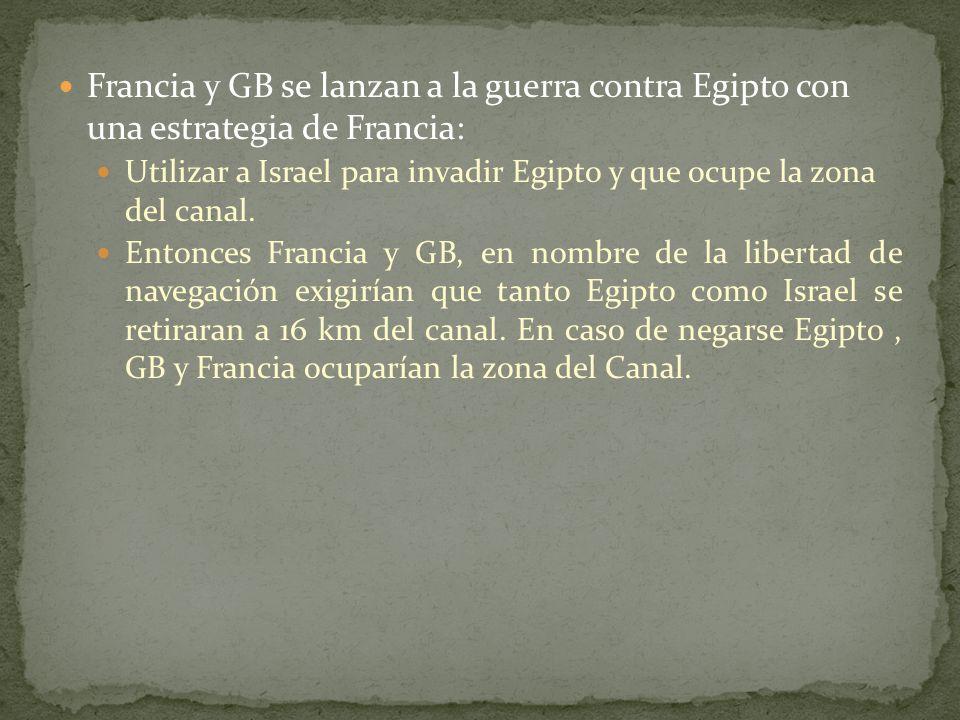 Francia y GB se lanzan a la guerra contra Egipto con una estrategia de Francia: Utilizar a Israel para invadir Egipto y que ocupe la zona del canal.