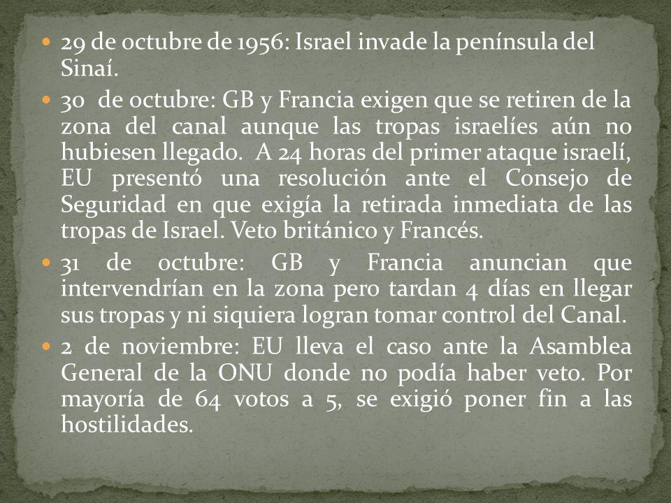 29 de octubre de 1956: Israel invade la península del Sinaí.