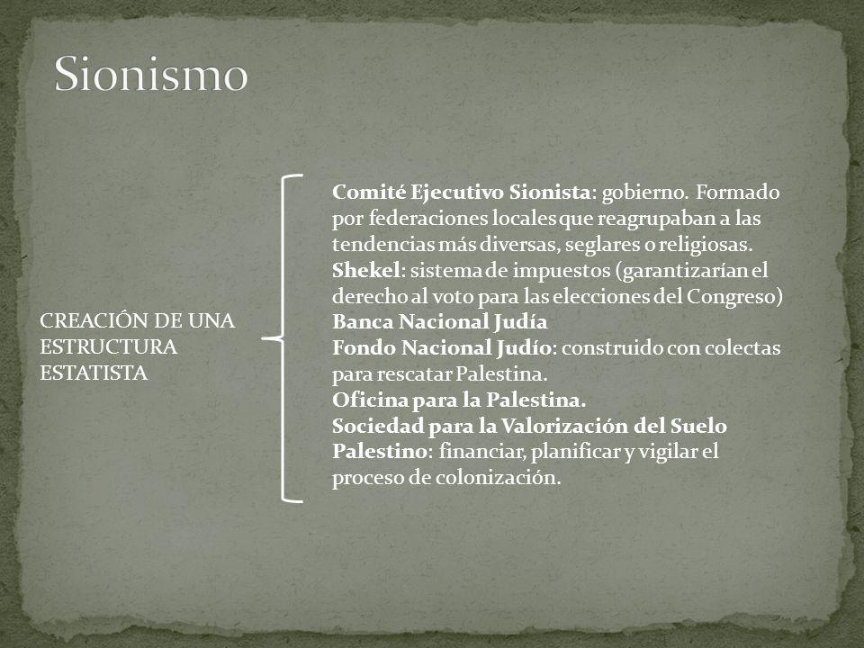 CREACIÓN DE UNA ESTRUCTURA ESTATISTA Comité Ejecutivo Sionista: gobierno.