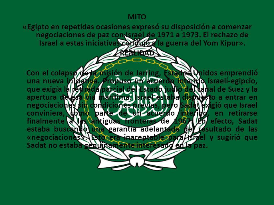 MITO «Egipto en repetidas ocasiones expresó su disposición a comenzar negociaciones de paz con Israel de 1971 a 1973. El rechazo de Israel a estas ini