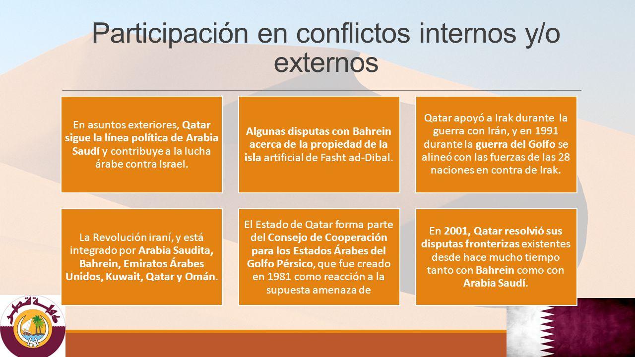 Participación en conflictos internos y/o externos En asuntos exteriores, Qatar sigue la línea política de Arabia Saudí y contribuye a la lucha árabe contra Israel.