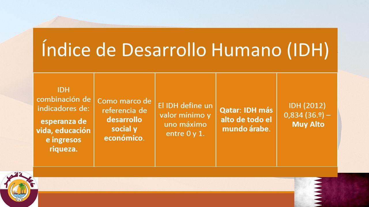 El Índice de Desarrollo Humano (IDH) IDH combinación de indicadores de: esperanza de vida, educación e ingresos riqueza.