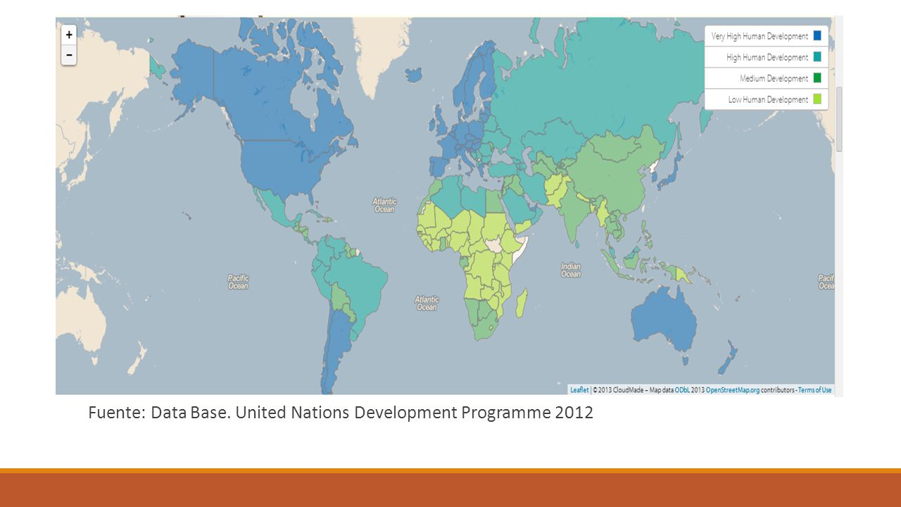 Fuente: Data Base. United Nations Development Programme 2012