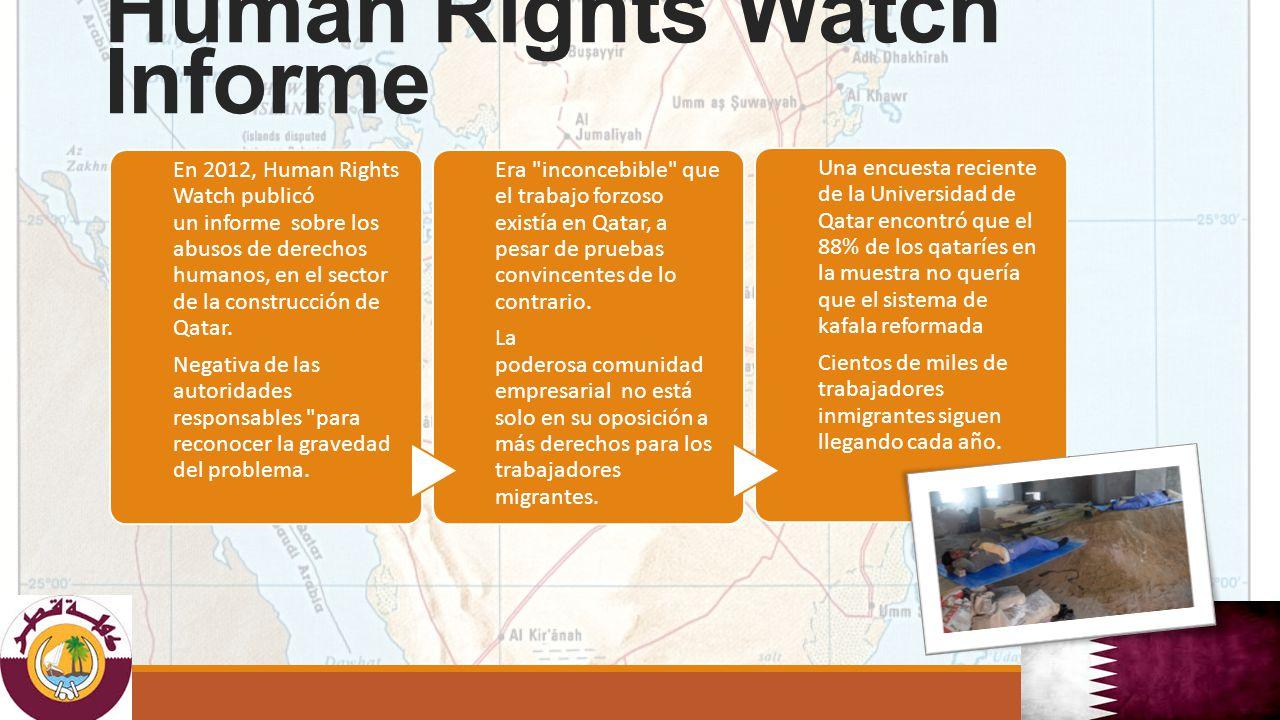 En 2012, Human Rights Watch publicó un informe sobre los abusos de derechos humanos, en el sector de la construcción de Qatar.