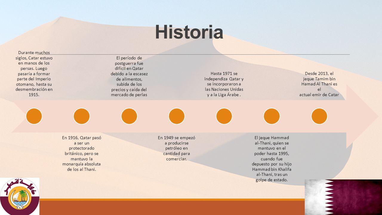 Historia Durante muchos siglos, Catar estuvo en manos de los persas. Luego pasaría a formar parte del Imperio otomano, hasta su desmembración en 1915.