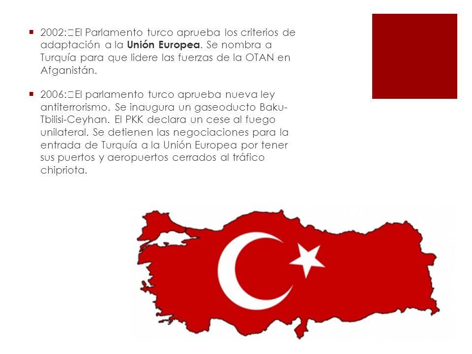 2002: El Parlamento turco aprueba los criterios de adaptación a la Unión Europea. Se nombra a Turquía para que lidere las fuerzas de la OTAN en Afgani