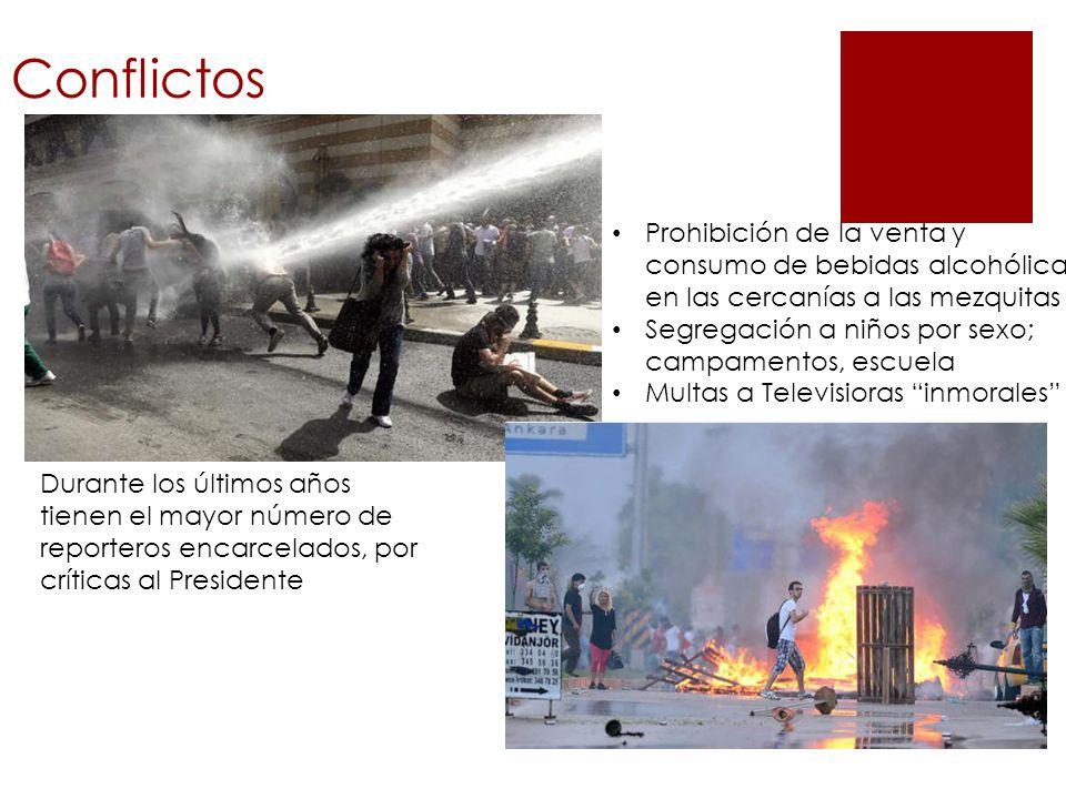 Conflictos Durante los últimos años tienen el mayor número de reporteros encarcelados, por críticas al Presidente Prohibición de la venta y consumo de