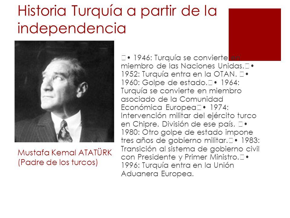 Historia Turquía a partir de la independencia Mustafa Kemal ATATÜRK (Padre de los turcos) 1946: Turquía se convierte en miembro de las Naciones Unidas