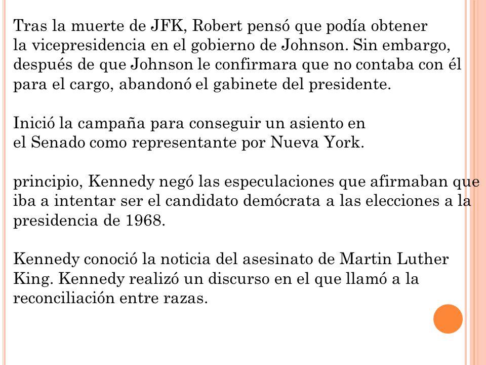 Tras la muerte de JFK, Robert pensó que podía obtener la vicepresidencia en el gobierno de Johnson. Sin embargo, después de que Johnson le confirmara