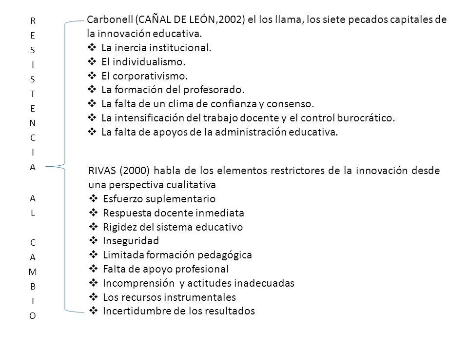 Carbonell (CAÑAL DE LEÓN,2002) el los llama, los siete pecados capitales de la innovación educativa. La inercia institucional. El individualismo. El c