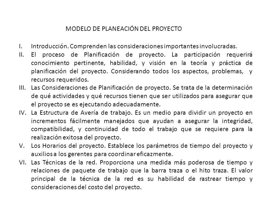 MODELO DE PLANEACIÓN DEL PROYECTO I.Introducción. Comprenden las consideraciones importantes involucradas. II.El proceso de Planificación de proyecto.