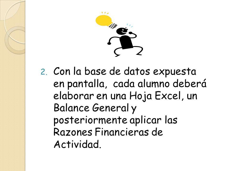 2. Con la base de datos expuesta en pantalla, cada alumno deberá elaborar en una Hoja Excel, un Balance General y posteriormente aplicar las Razones F