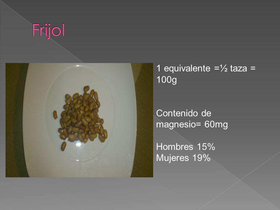 1 equivalente =½ taza = 100g Contenido de magnesio= 60mg Hombres 15% Mujeres 19%