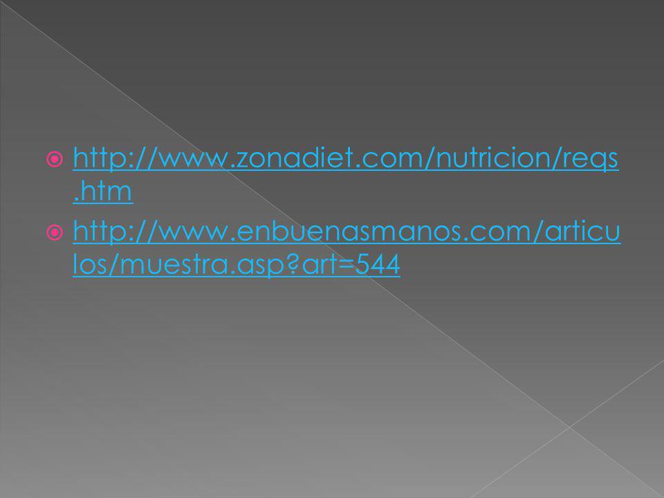 http://www.zonadiet.com/nutricion/reqs.htm http://www.zonadiet.com/nutricion/reqs.htm http://www.enbuenasmanos.com/articu los/muestra.asp?art=544 http