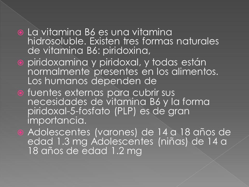 La vitamina B6 es una vitamina hidrosoluble. Existen tres formas naturales de vitamina B6: piridoxina, piridoxamina y piridoxal, y todas están normalm