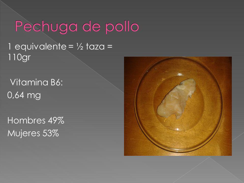 1 equivalente = ½ taza = 110gr Vitamina B6: 0,64 mg Hombres 49% Mujeres 53%