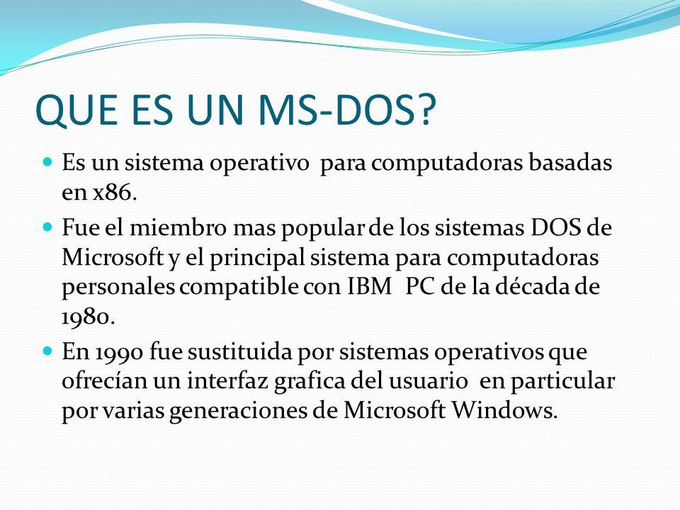 QUE ES UN MS-DOS.Es un sistema operativo para computadoras basadas en x86.