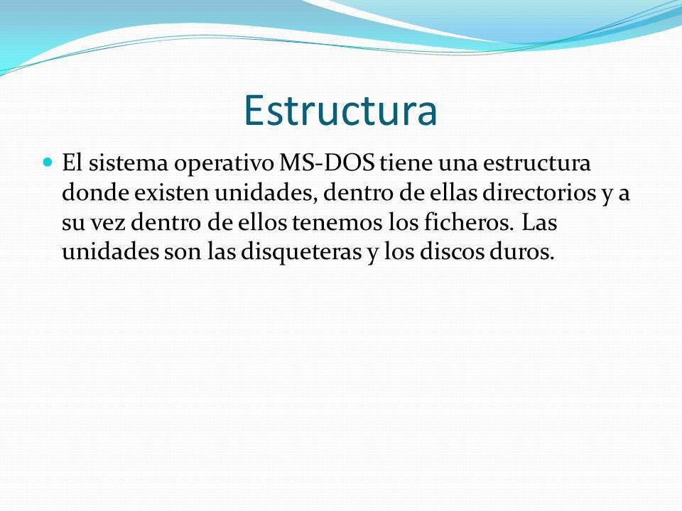 Estructura El sistema operativo MS-DOS tiene una estructura donde existen unidades, dentro de ellas directorios y a su vez dentro de ellos tenemos los ficheros.