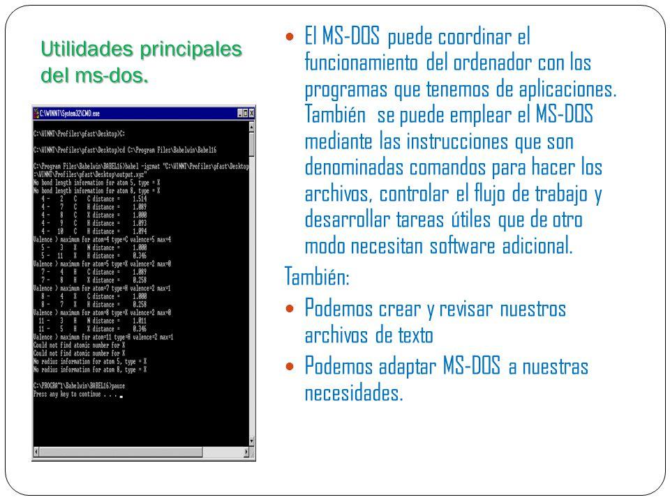 Diferentes versiones del ms-dos.