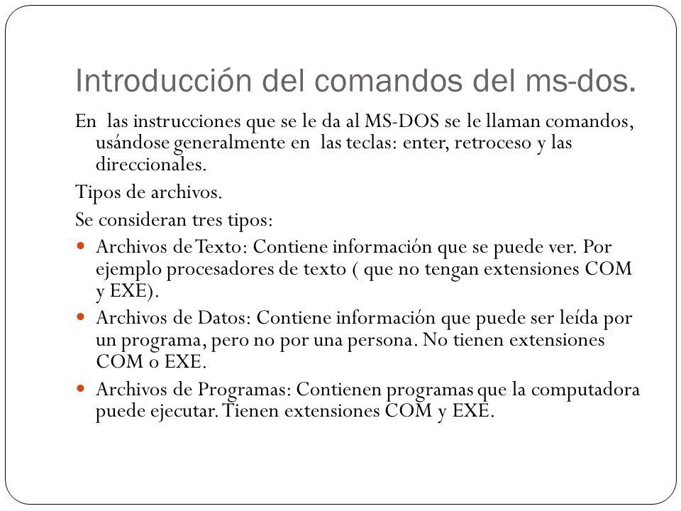 Introducción del comandos del ms-dos.